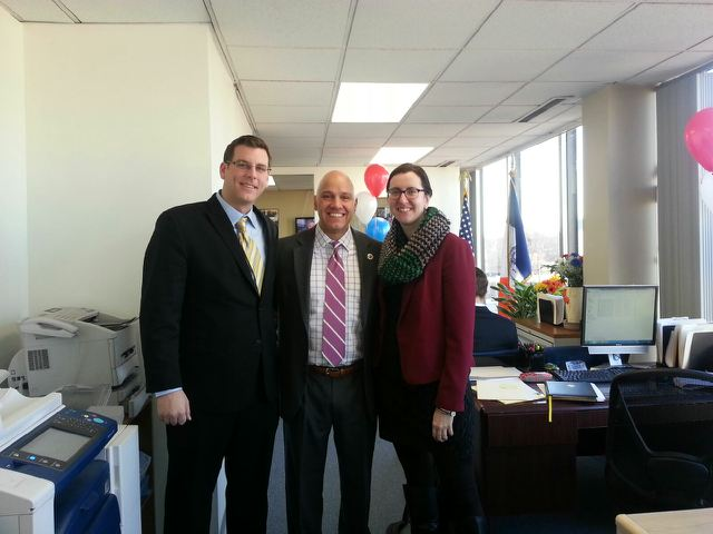 On Thursday, January 30, 2014, Assemblyman Braunstein attended Councilman Paul Vallone's District Office Open House. Assemblyman Braunstein is pictured here with Councilman Vallone and Assemblywoman N