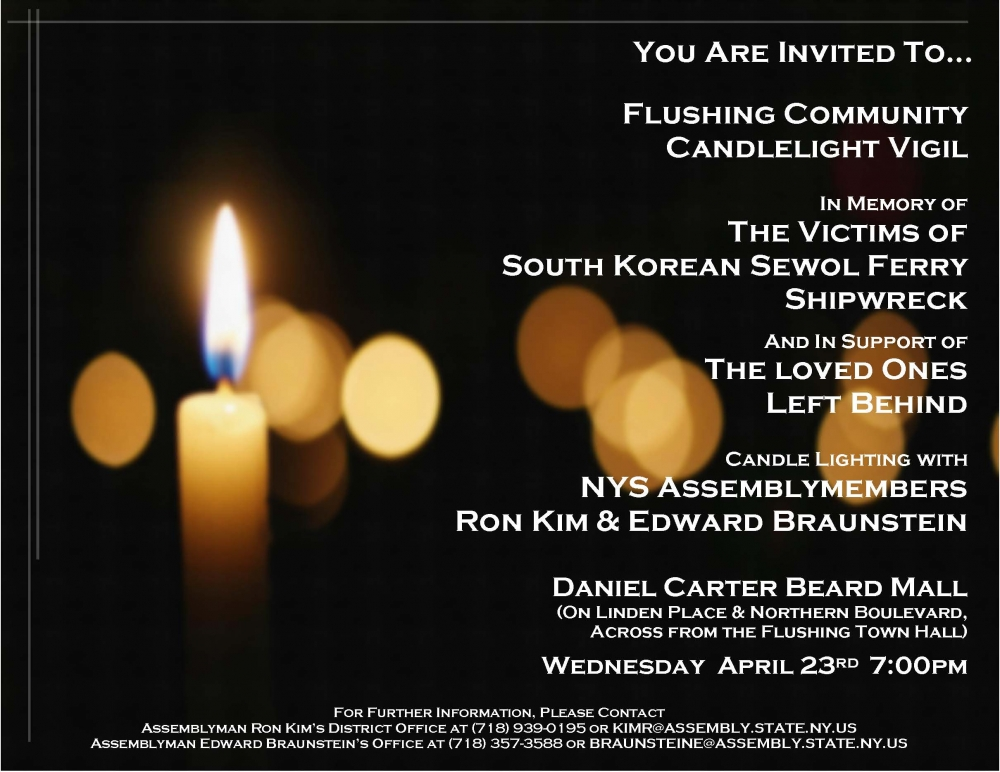 Assemblymen Braunstein and Kim hosted a candlelight vigil in memory of the victims of the South Korean Sewol Ferry accident.