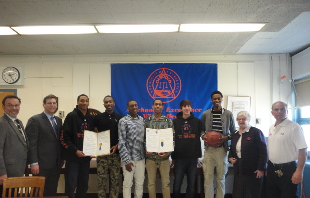 Assemblyman Braunstein and Senator Toby Ann Stavisky presented a legislative resolution to the Benjamin N. Cardozo High School Boys Basketball Team, which won the PSAL