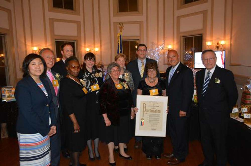 On May 3, 2014, Assemblyman Braunstein presented a Legislative Resolution to the Bayside Historical Society and citations to its honorees at its 50th Anniversary Gala. Assemblyman Braunstein is pictured with Congresswoman Grace Meng, Council Member Paul Vallone, Congressman Steve Israel's Outreach Coordinator Michael Stinson, and the evening's honorees, Dr. Gary Bram, Janet McEneaney, Sister Kathleen Masterson, former State Senator Frank Padavan, Rose Marie Ryan-Harrison, and members of the Brown Family.
