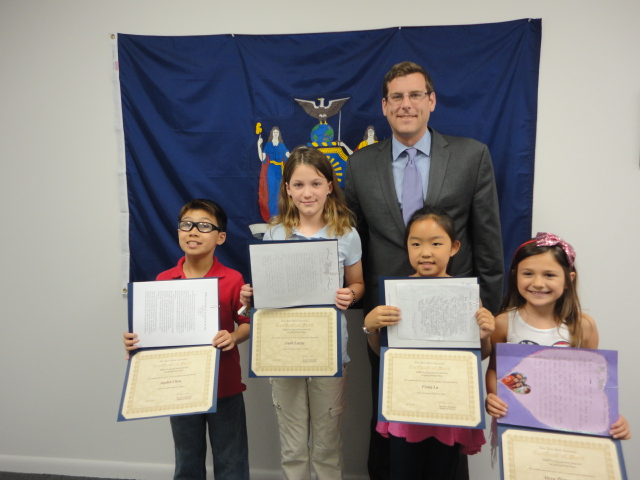 On May 30, 2014, Assemblyman Braunstein congratulated the winners of his Mother's Day Essay and Poetry Contest 2014.