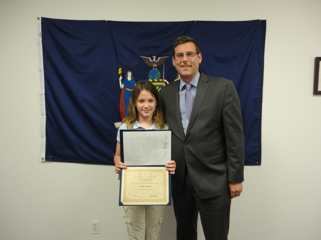 On May 30, 2014, Assemblyman Braunstein congratulated the 5th Grade Grand Prize Winner of his Mother's Day Essay and Poetry Contest 2014, Faith Lutzky of Sacred Heart School in Bayside.