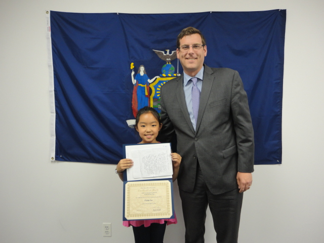 On May 30, 2014, Assemblyman Braunstein congratulated the 3rd Grade Grand Prize Winner of his Mother's Day Essay and Poetry Contest 2014, Fiona Lu of PS 209 in Whitestone.