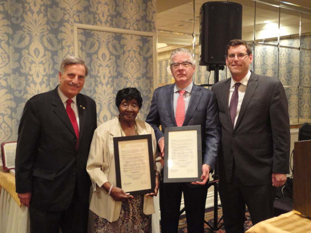 Assemblyman Braunstein is pictured with Assemblyman David Weprin and fellow SNAP honorees Jacqueline Boyce and Peter L. Curry, Esq.