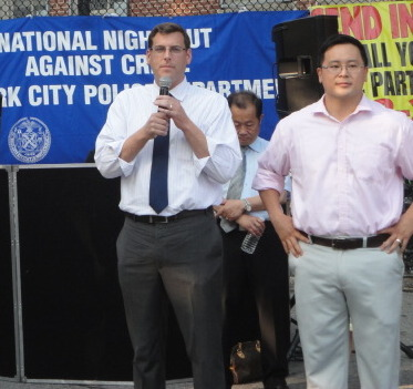On August 5, 2014, Assemblyman Braunstein attended the 109th Precinct's National Night Out Against Crime. Assemblyman Braunstein is pictured with Assemblyman Ron Kim.