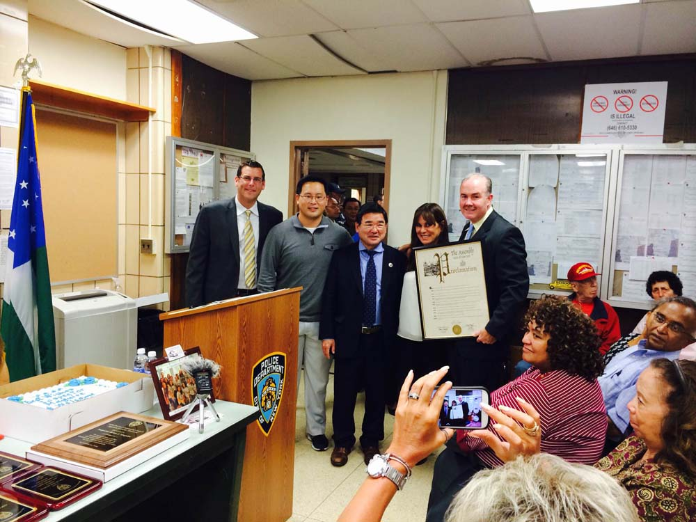 Assemblyman Braunstein and Assemblyman Kim presented a New York State Assembly Proclamation to Inspector Brian Maguire, who was the Commanding Officer of the 109th Precinct from 2010 until this past s