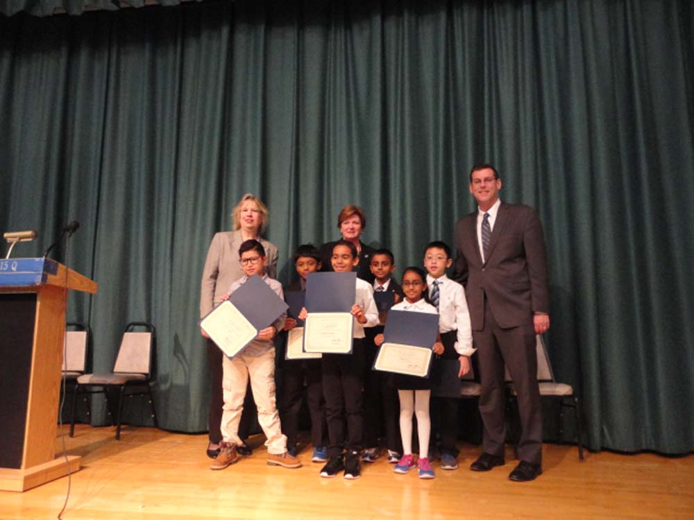On November 14, 2014, Assemblyman Braunstein inducted the Student Council of PS 115 in Floral Park. Assemblyman Braunstein is pictured with Principal Kathleen A. Sciortino, Student Council Coordinator