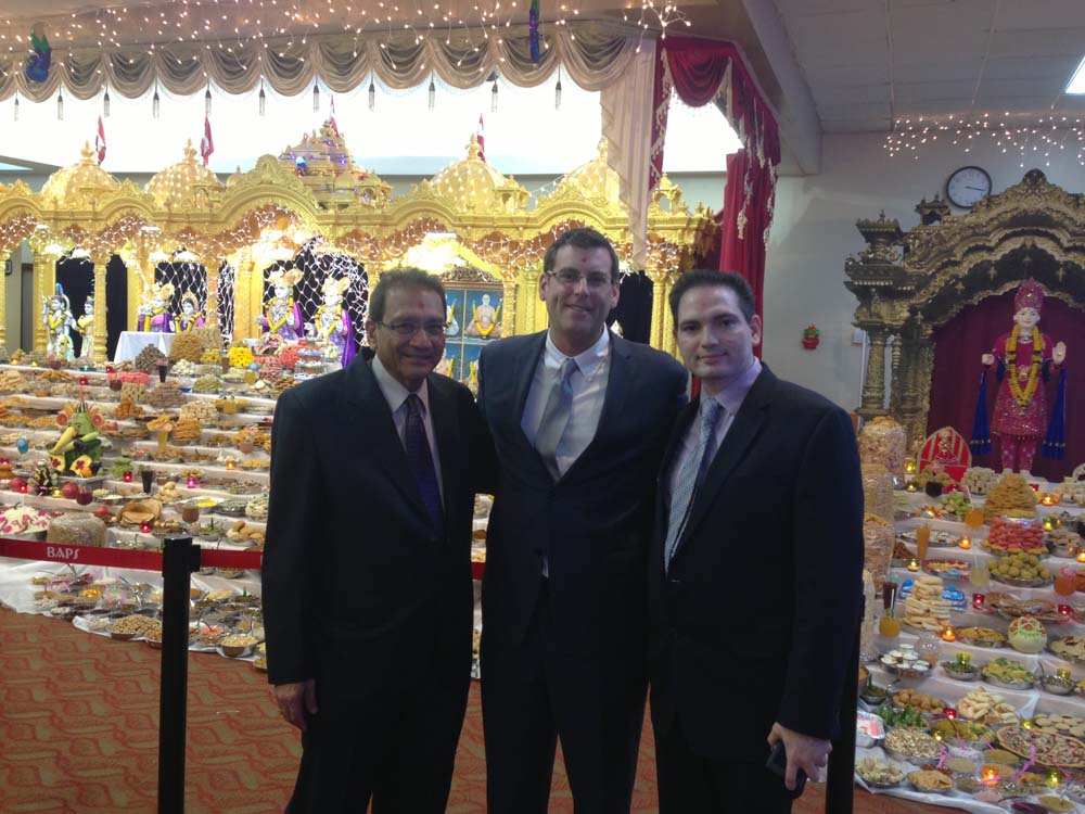 Assemblyman Braunstein celebrated Diwali with BAPS Swaminarayan Mandir. Assemblyman Braunstein is pictured with Public Relations volunteers Dilip Chauhan and Vivendra Patel.