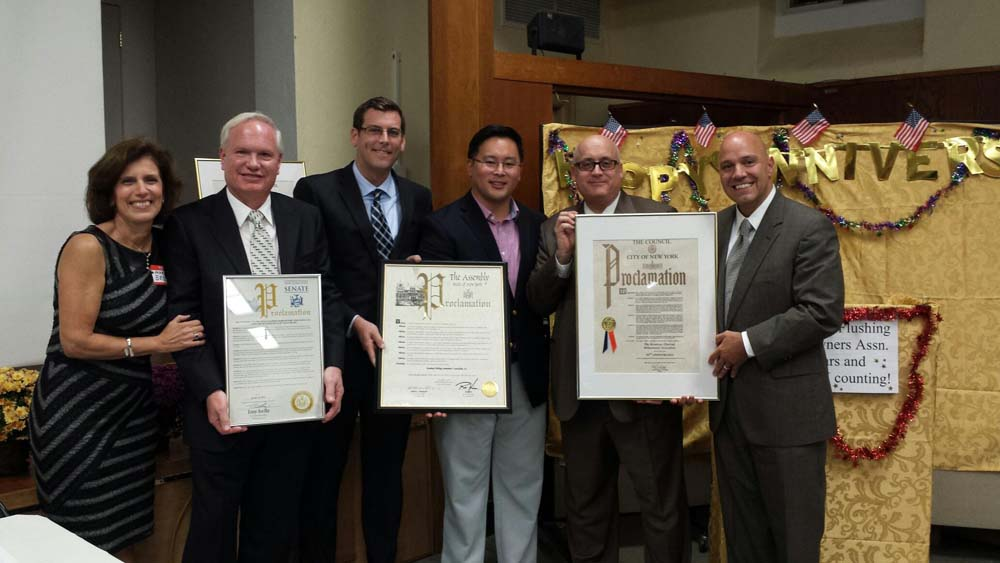 Assemblyman Braunstein presented a joint New York State Assembly Proclamation with Assemblyman Ron Kim to the Broadway-Flushing Homeowners' Association (BFHA) at their 50th Anniversary Meeting and Rec