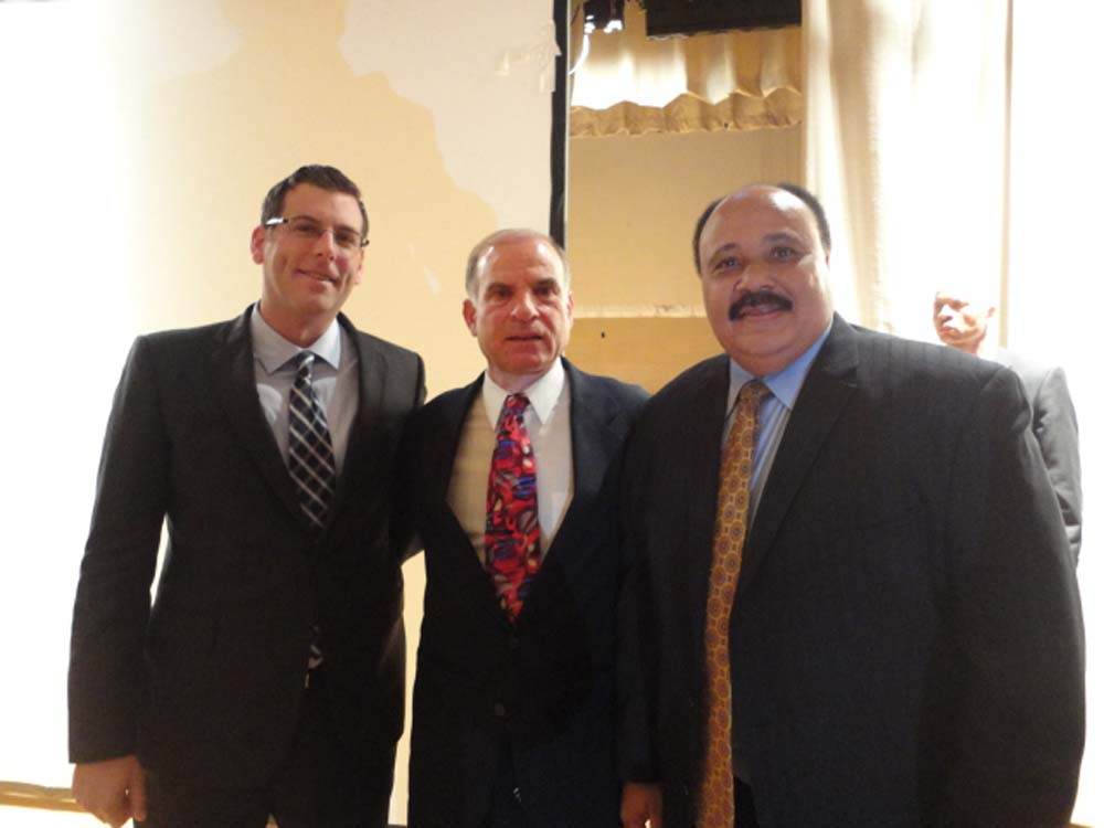 Assemblyman Braunstein met Martin Luther King, III at Benjamin N. Cardozo High School. Assemblyman Braunstein is pictured with Martin Luther King III and Coach Ron Naclerio, whose father, Dr. Emil Nac