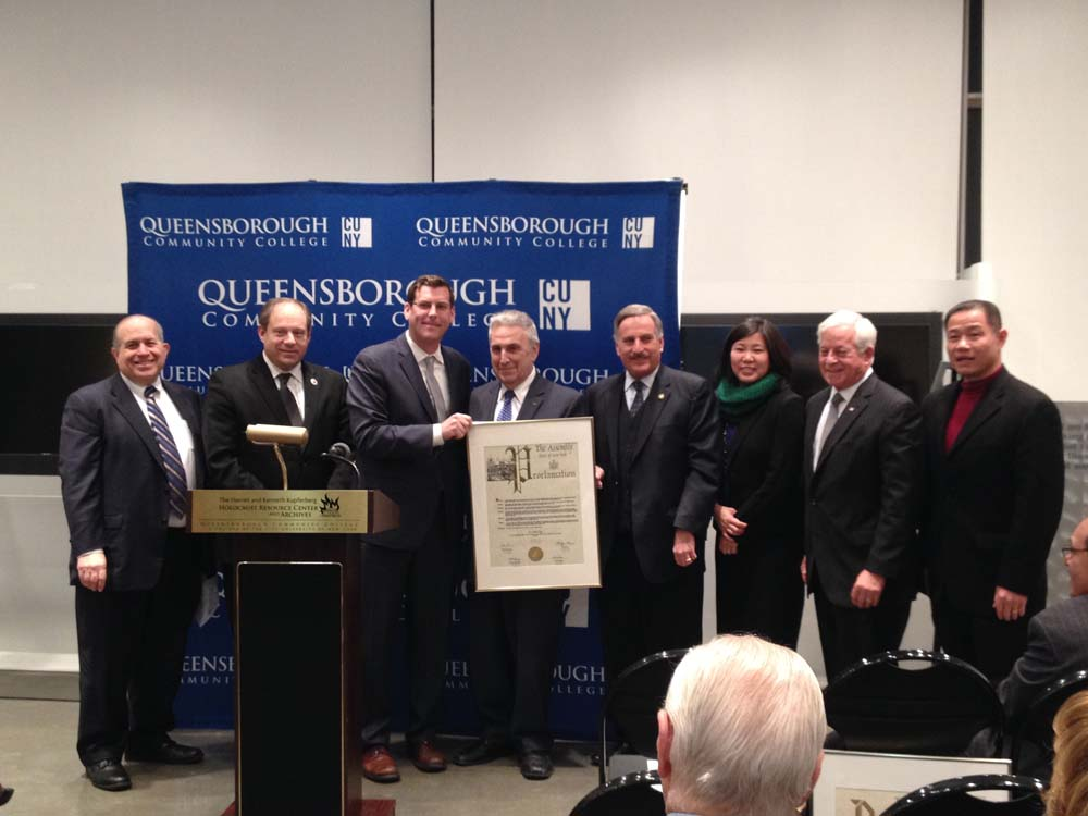 On December 8, 2014, Assemblyman Braunstein presented a New York State Assembly Proclamation to Dr. Arthur Flug, retiring Executive Director of the Kupferberg Holocaust Resource Center & Archives. Ass