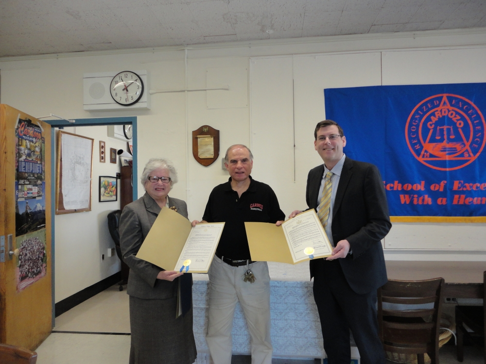 On March 13, 2015, Assemblyman Braunstein and Senator Toby Ann Stavisky presented a New York State Legislative Resolution to Cardozo High School Boys' Basketball Coach Ron Naclerio in honor of his 700
