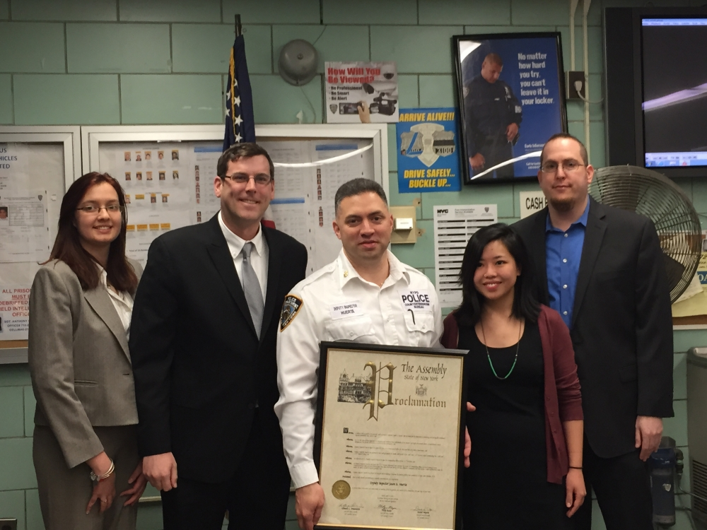 On April 14, 2015, Assemblyman Braunstein presented a joint New York State Assembly Proclamation to Deputy Inspector Jason Huerta, formerly the Commanding Officer of the 111th Precinct, who is now the