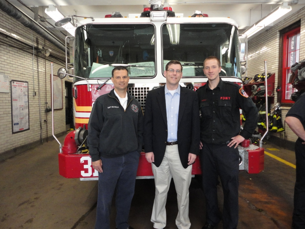 On May 2, 2015, Assemblyman Braunstein attended the Engine 313 Open House in Douglaston on Saturday with Captain Colabella and Firefighter Brian Connolly in honor of the New York City Fire Department'