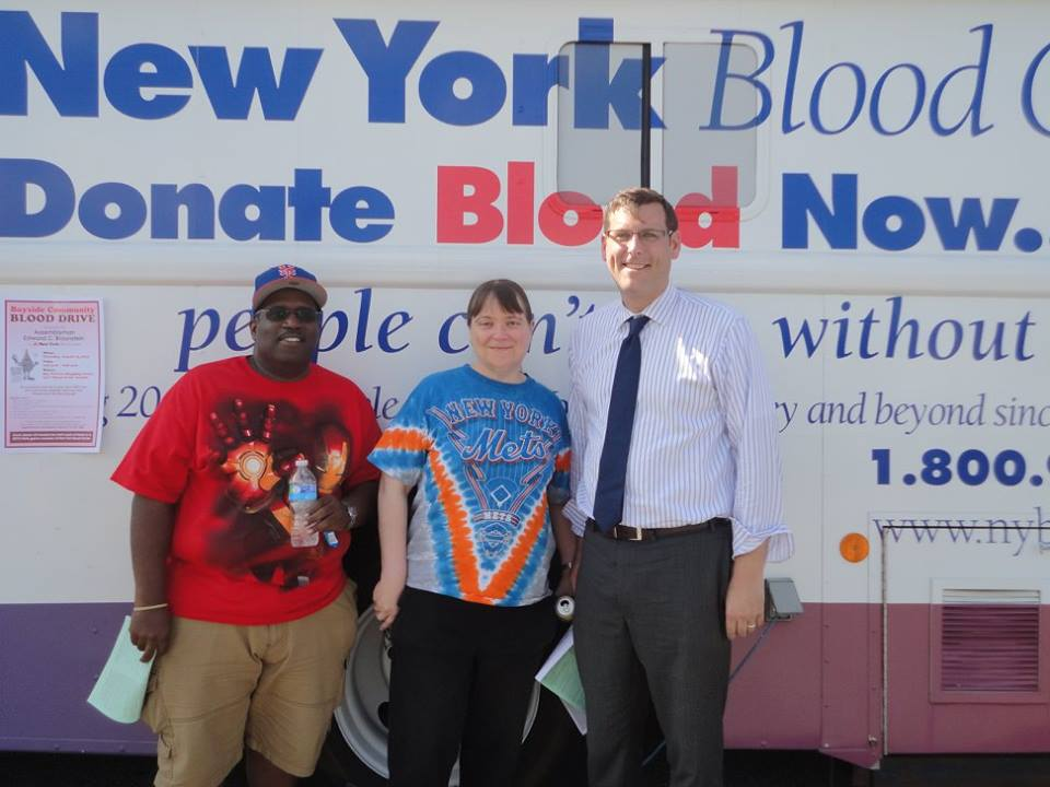 On August 13, 2015, Assemblyman Braunstein sponsored his 3rd Annual Summer Blood Drive in conjunction with the New York Blood Center. Assemblyman Braunstein is pictured with donors George Roosburg and