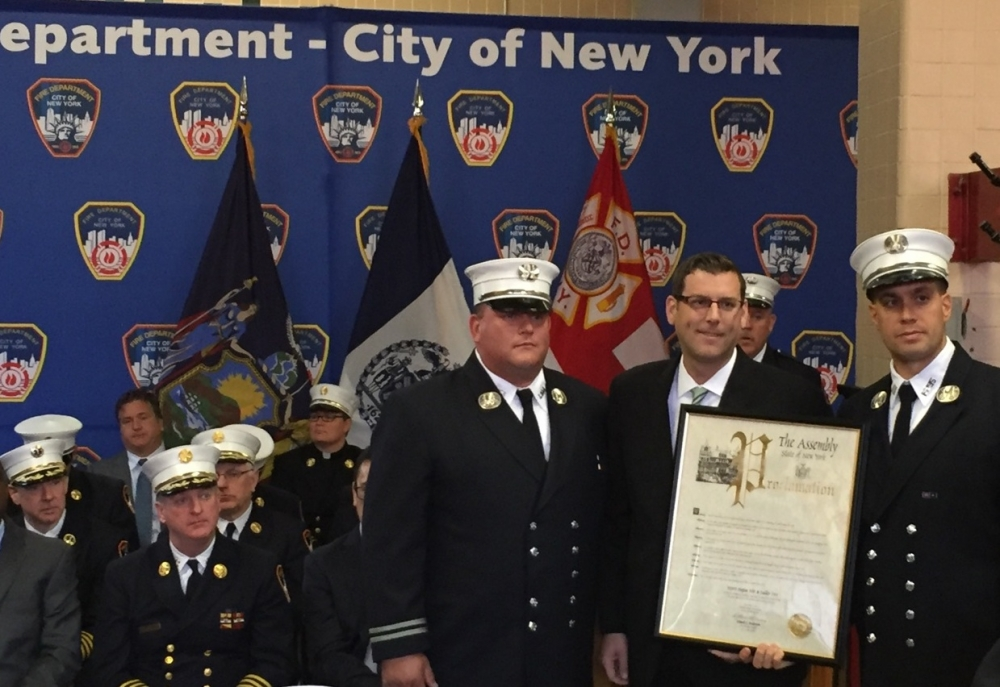 On October 1, 2015, Assemblyman Braunstein presented a New York State Assembly Proclamation to Captain Kenneth Ruggiero and Captain Paul T. Holly recognizing the 100th Anniversary of FDNY Engine 295 and Ladder 144 in Whitestone.