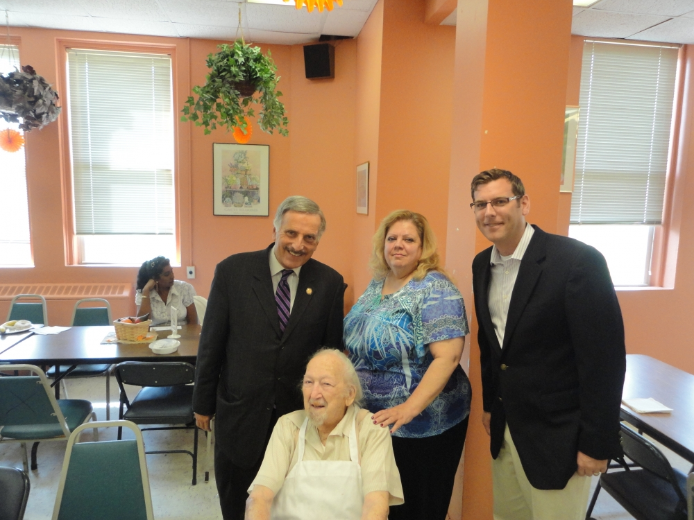 On September 25, 2015, Assemblyman Braunstein attended the Legislative Breakfast at Services Now for Adult Persons, Inc. Assemblyman Braunstein is pictured with Assemblyman David Weprin, SNAP CEO/President Paola Miceli, and Irving Chadkin, who recently celebrated his 100th birthday.