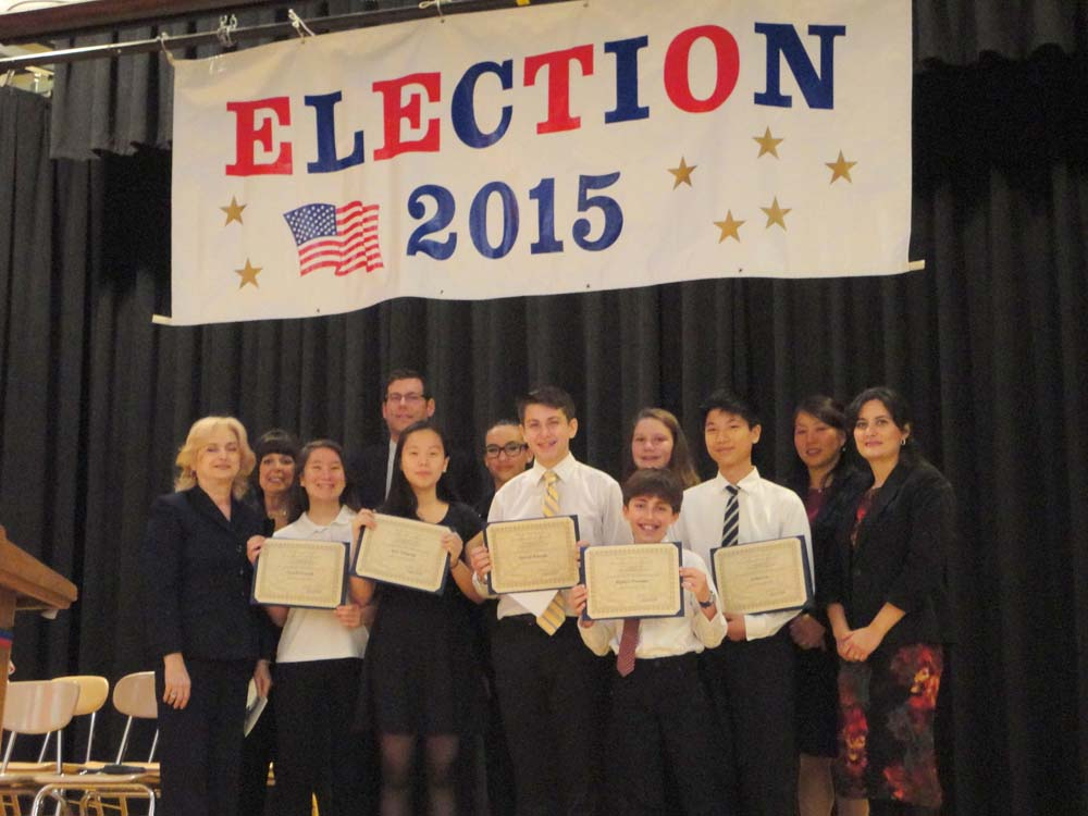 On November 19, 2015, Assemblyman Braunstein installed the Student Organization at Louis Pasteur Middle School 67. Assemblyman Braunstein is pictured with Principal Zoi P. McGrath, Assistant Principal