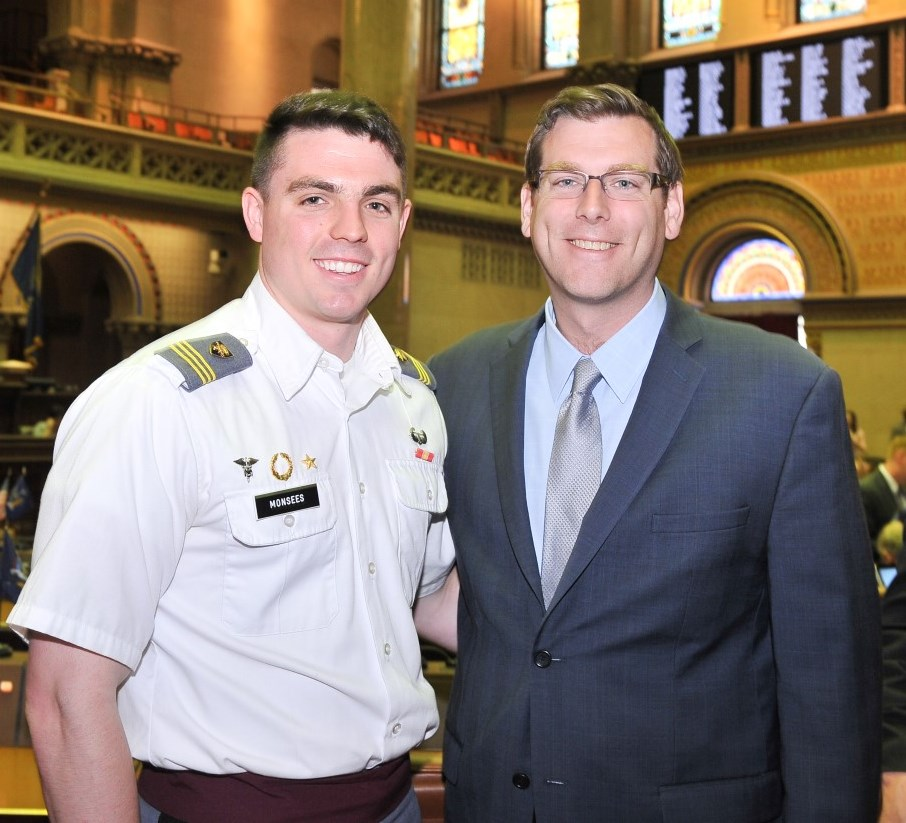On May 5, 2016, Assemblyman Braunstein met with West Point Cadet Sean Monsees from Whitestone during the New York State Legislature's 65th Annual West Point Day.