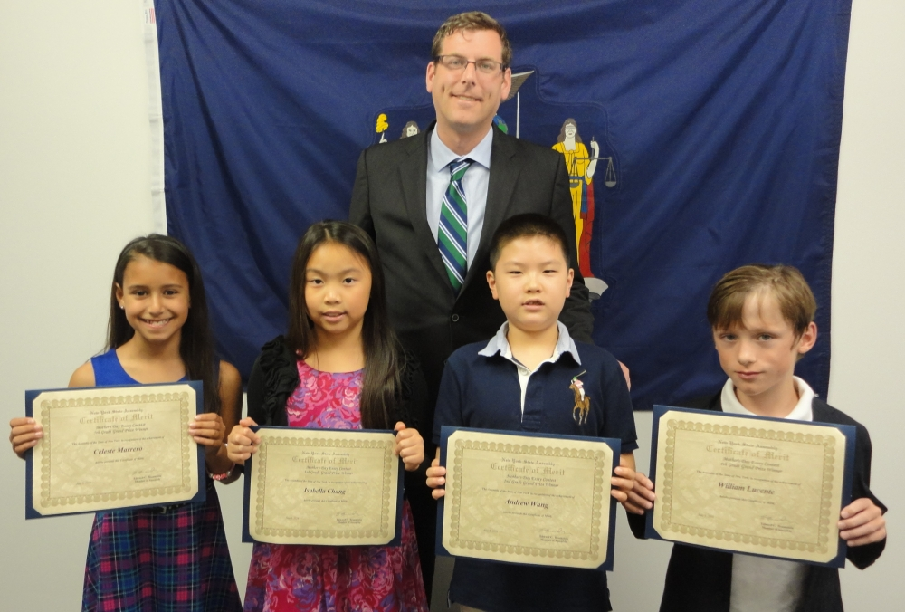 On June 3, 2016, Assemblyman Braunstein met with the winners of his Mother's Day Essay Contest. Assemblyman Braunstein is pictured with Celeste Marrero, 5th Grade Grand Prize Winner; Isabella Chang,