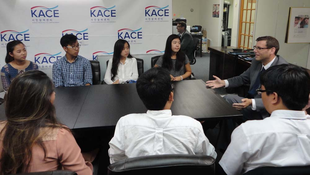 On August 10, 2016, Assemblyman Braunstein spoke to Korean American Civic Empowerment interns about legislation that he has introduced and important local issues.