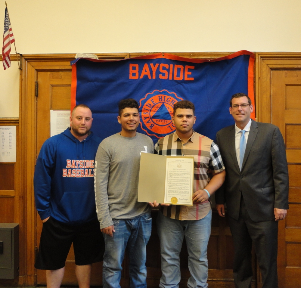 On September 19, 2016, Assemblyman Braunstein presented a New York State Legislative Resolution to Bayside High School Boys Baseball team members Daniel Alfonso and Jesse Spellman, and Assistant Coach