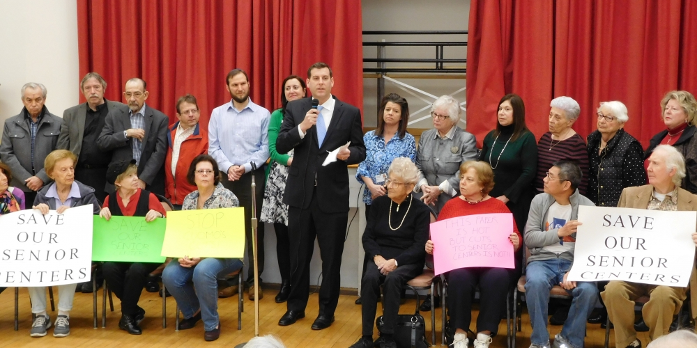Assemblyman Braunstein, Senator Toby Ann Stavisky, & Assemblywoman Nily Rozic held a rally with seniors and civic leaders at Selfhelp Clearview Senior Center on February 23, 2017 against Governor
