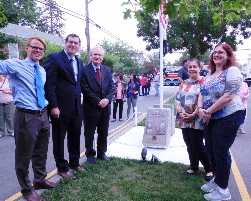 On June 17, 2017, Assemblyman Braunstein attended the unveiling of the Northwest Bayside Civic Association's new 9/11 bronze plaque memorial on 204th Street near 33rd Avenue.