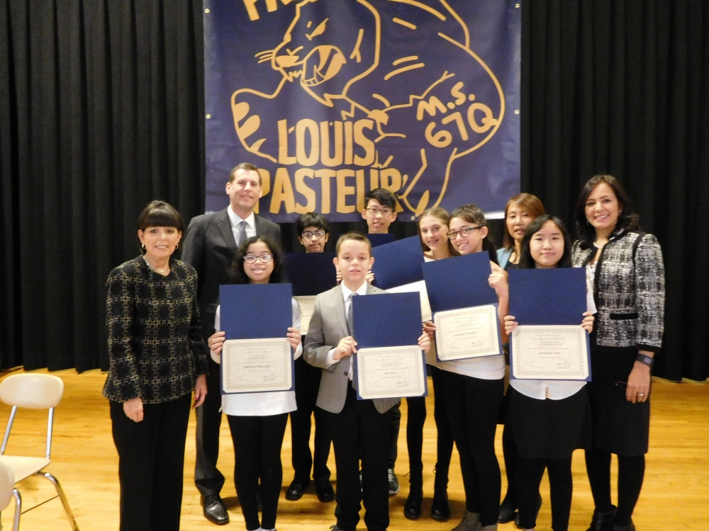 On November 10, 2017, Assemblyman Braunstein installed the 2017-2018 Student Organization at Louis Pasteur Middle School 67.