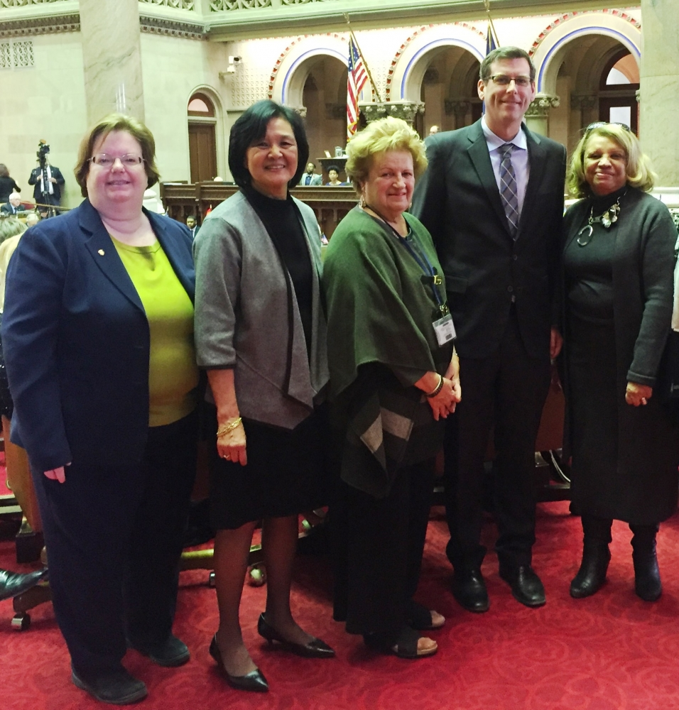 Assemblyman Braunstein and Assemblywoman Catherine Nolan are pictured with Regent Judith Chin, Regent Beverly Ouderkirk, and Regent Catherine Collins on February 13, 2018 in Albany.