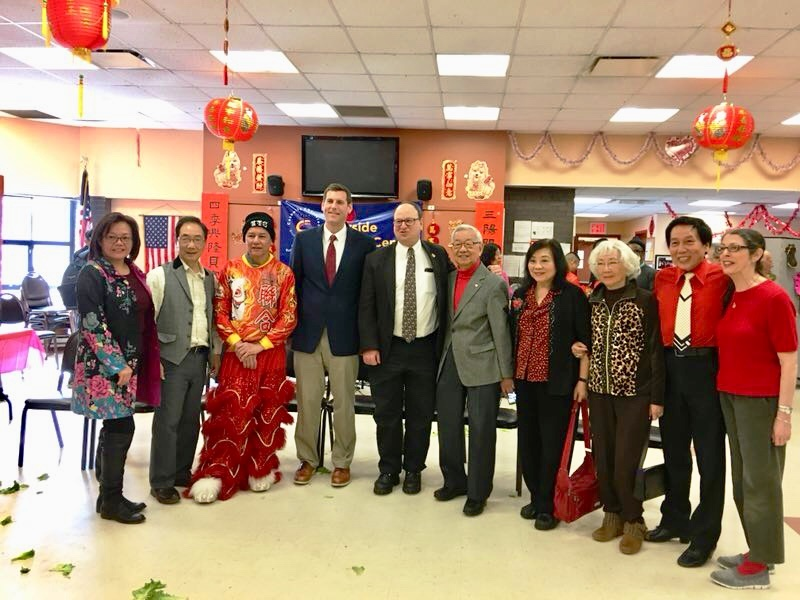 On March 3, 2018, Assemblyman Braunstein attended the Key Luck Club's Lunar New Year Celebration at the Bayside Senior Center with Council Member Barry Grodenchik.