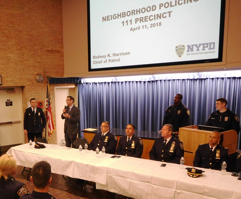 On April 11, 2018, Assemblyman Braunstein attended the 111th Precinct's Neighborhood Policing Roll Out and welcomed the 111th Precinct's new Commanding Officer Capt. John Hall.