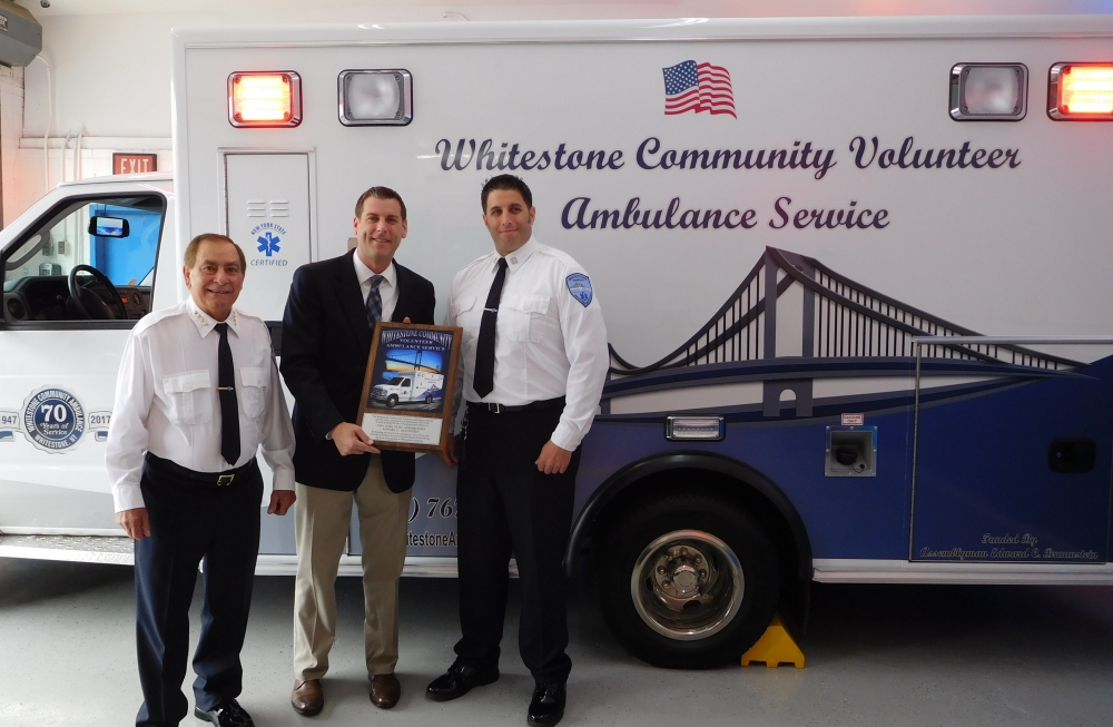On May 28, 2018, Assemblyman Braunstein received a plaque from Whitestone Community Volunteer Ambulance Service (WVAS) in honor of the arrival of a new ambulance. Assemblyman Braunstein allocated a $1