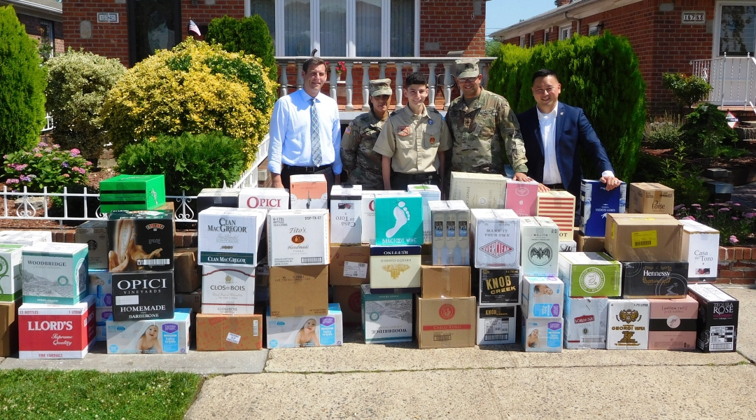 On June 29, 2018, Assemblyman Braunstein donated items to Peter Zirillo of Flushing's Army Supplies Collection Eagle Scout Project.
