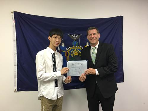 On August 14, 2018, Assemblyman Braunstein met with Chengxuan He, a visiting student from Changsha, China.