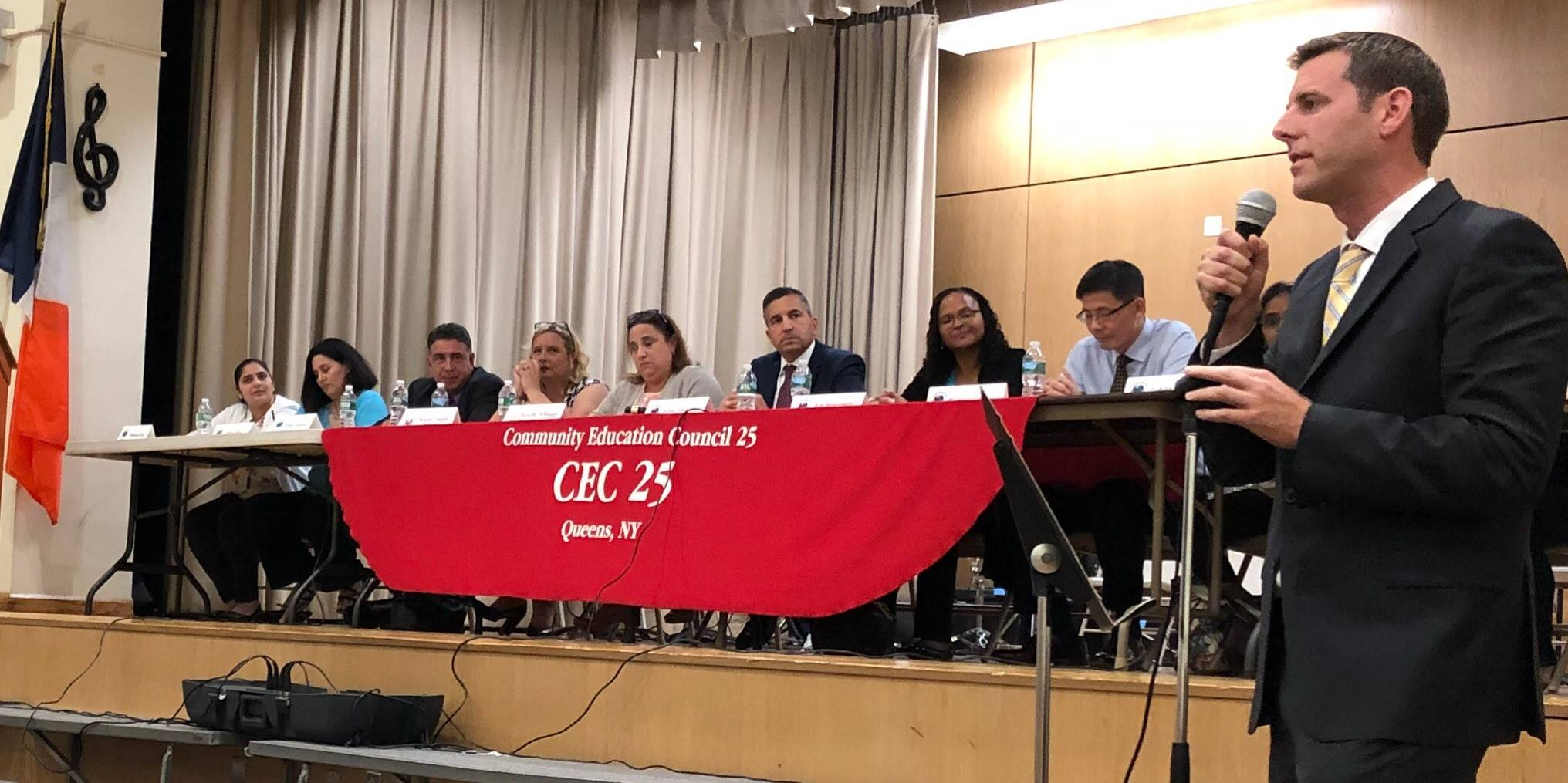 On October 3, 2018, Assemblyman Braunstein attended the School District 25 Community Education Council meeting and spoke against the Mayor's proposed elimination of the Specialized High School Ad