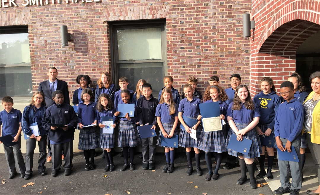 On November 8, 2018, Assemblyman Braunstein installed the newly-elected Divine Wisdom Catholic Academy 2018-2019 Student Council Officers and Representatives.