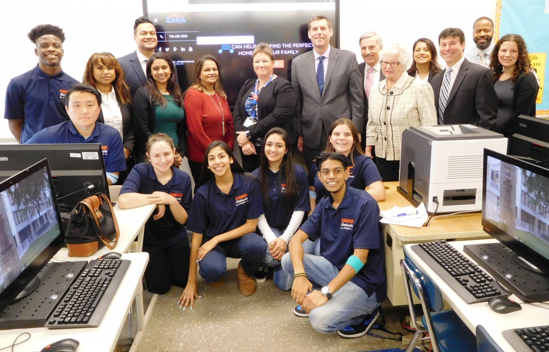 On January 18, 2019, Assemblyman Braunstein attended the unveiling of a new technology center at Benjamin N. Cardozo High School, funded by the Subraj Foundation.