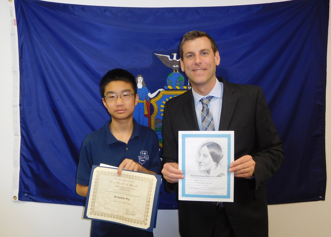On May 2, 2019, Assemblyman Braunstein met with Benjamin Wu, winner of the annual Women's History Month Art Contest for his portrait of Susan B. Anthony.