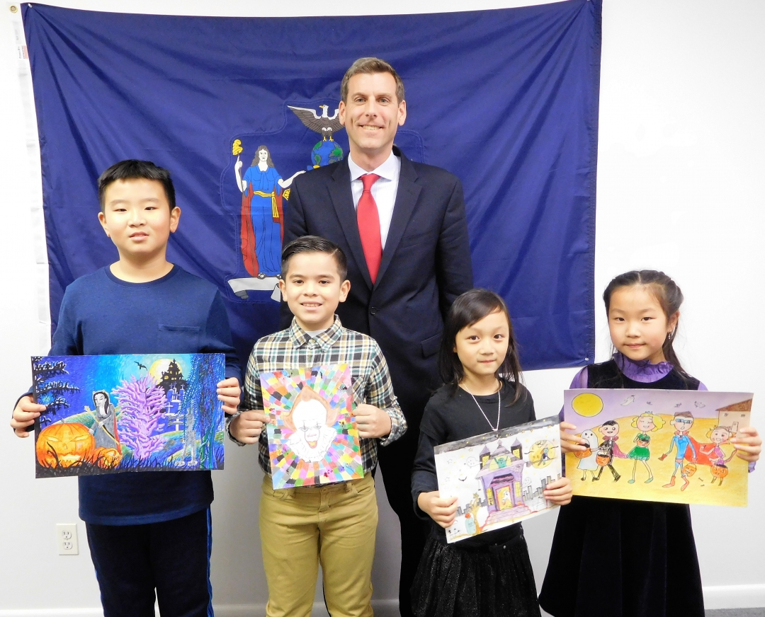 On November 22, 2019, Assemblyman Braunstein met with the winners of his office's annual Halloween Essay & Drawing Contest. Congratulations to 2nd Grade Grand Prize Winner Lucia Jin of PS 209