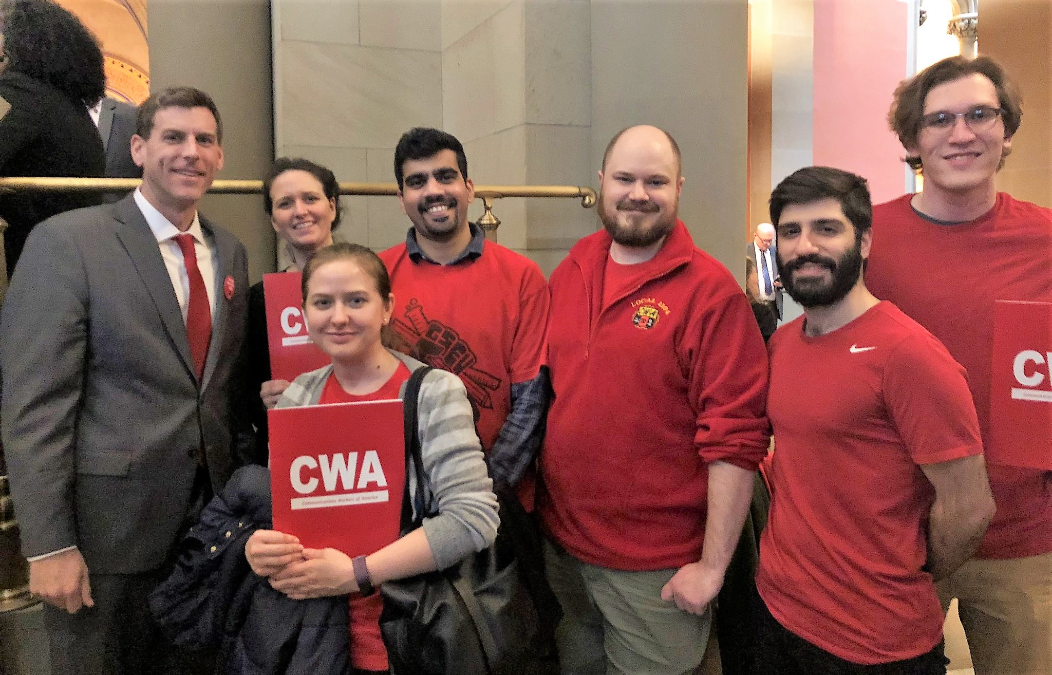 On February 12, 2020, Assemblyman Braunstein met in Albany with members of CWA 1104, SUNY Graduate Student Employees Union.