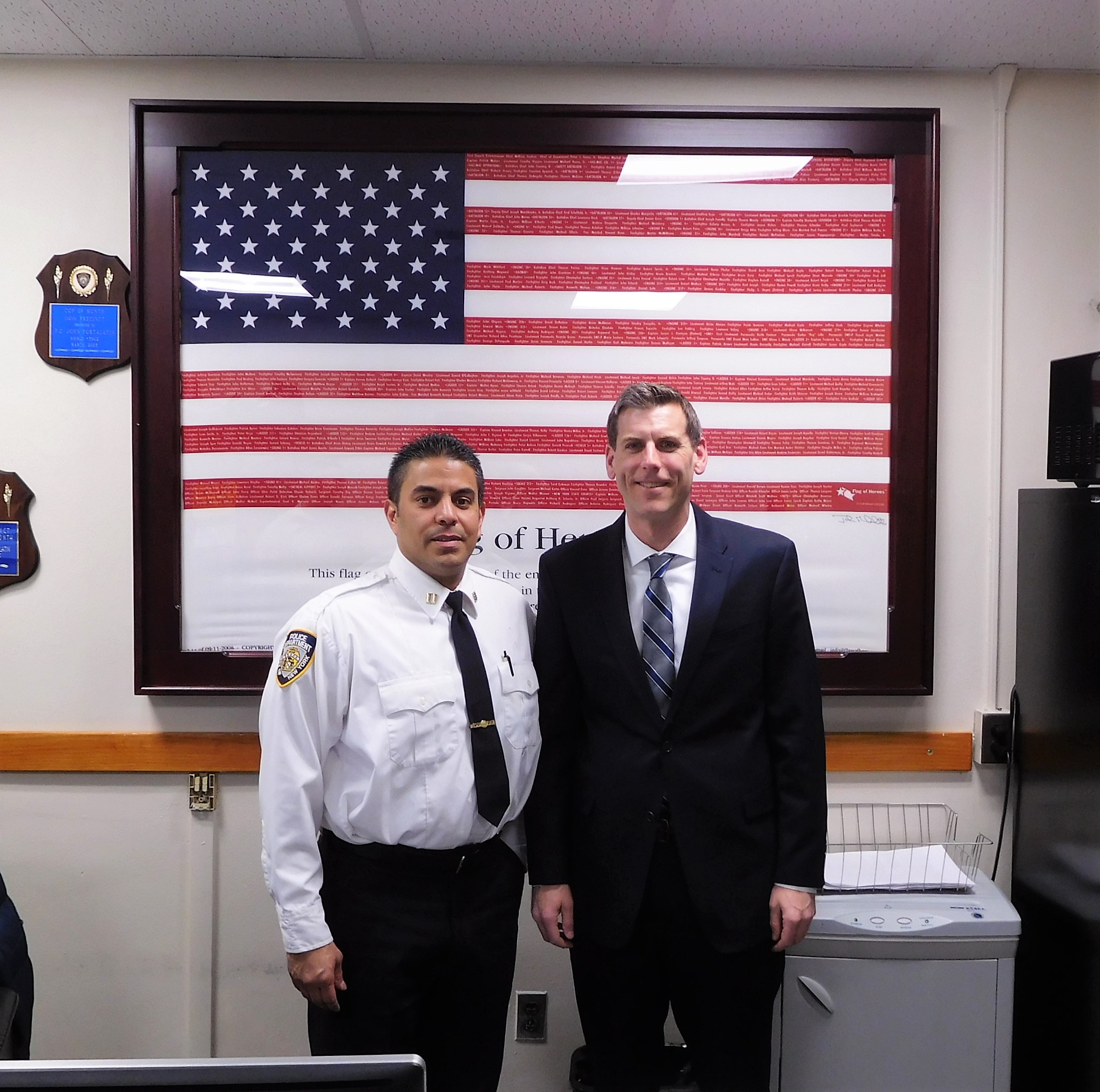 On February 28, 2020, Assemblyman Braunstein met with Captain John Portalatin, the new Commanding Officer of the 111th Precinct.