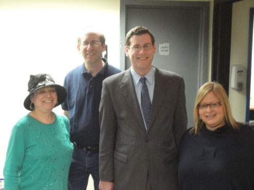 Assemblyman Braunstein with Cynthia Zalisky, Executive Director and Warren Hecht, President of the Queens Jewish Community Council, and Ilene Marcus, Chief of Staff for the Metropolitan Council on Jewish Poverty during the Queens Jewish Community Council Passover Food Distribution on April 10, 2011.