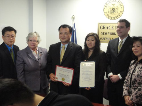Assemblyman Braunstein, Assemblywoman Grace Meng, Senator Toby Ann Stavisky and Yen Chou present citations to Mr. Chang Y. Han, President of the Korean American Association of Greater New York on April 7, 2011.