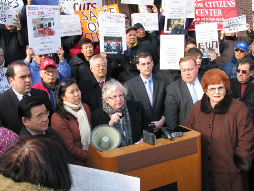 Assemblyman Braunstein with Senator Toby Ann Stavisky, Assemblywoman Grace Meng & others at a protest against plans to close senior centers in Queens.