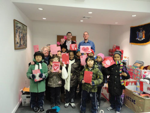 Assemblyman Edward Braunstein and Staff along with The Lutheran School of Flushing and Bayside with their Valentines for Veterans