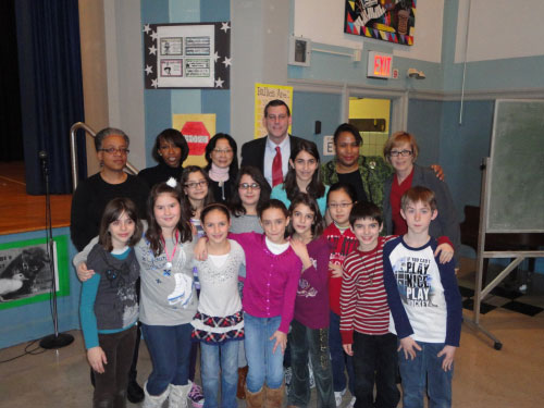 Assemblyman Edward Braunstein at PS 193 with Principal Joyce Bush and friends for their Anti-Bullying Assembly.
