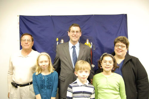 Assemblyman Braunstein with students and parents from Little Neck at the first District Office Open House on April 10, 2011.