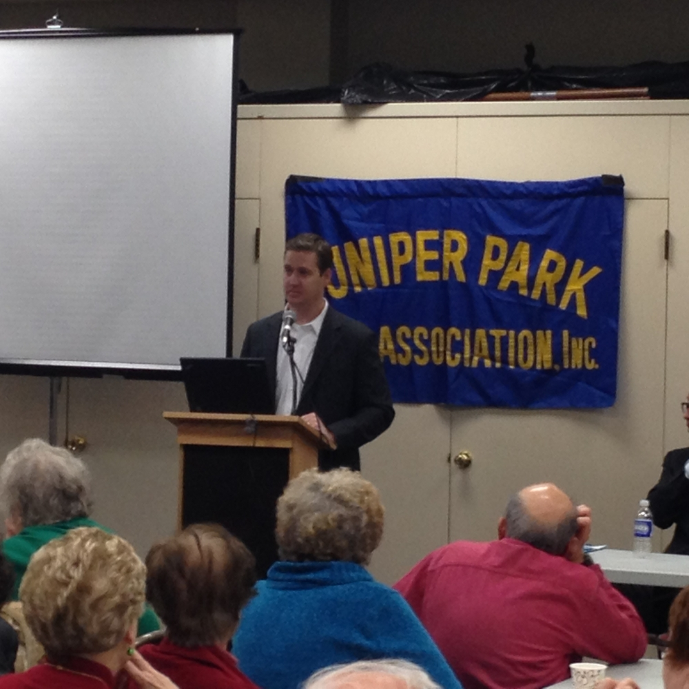 Assemblyman Hevesi addresses the Juniper Park Civic Association in regards to pressing community issues.