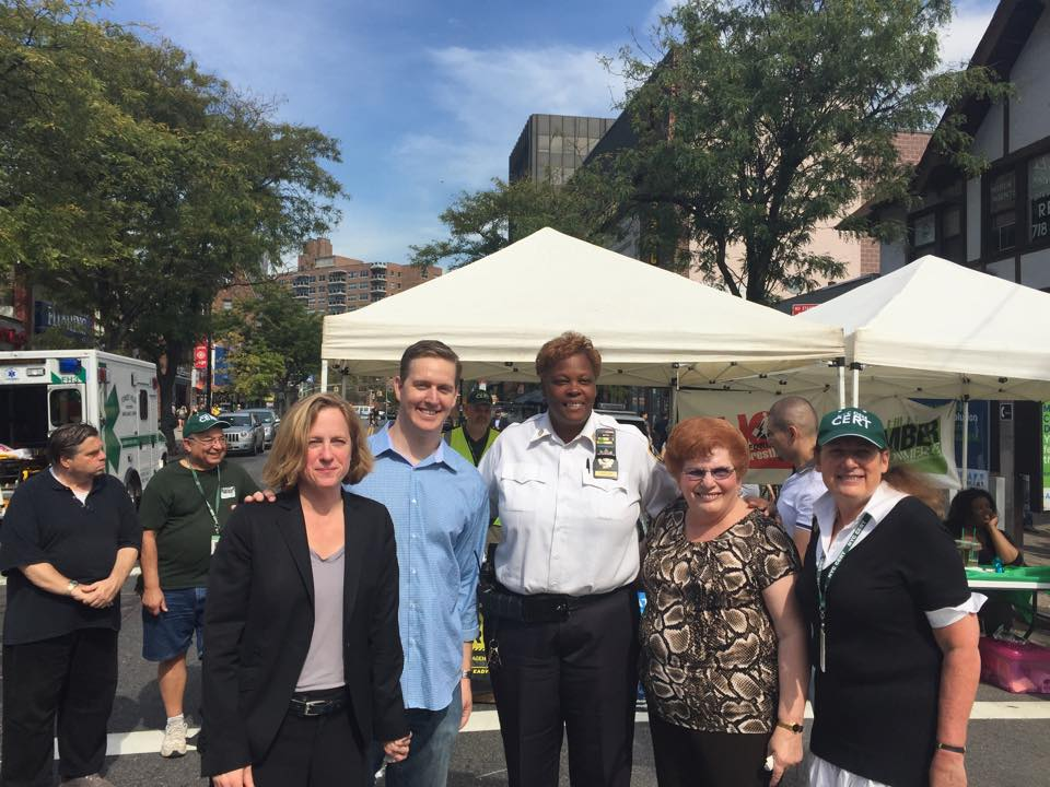 Assemblyman Hevesi enjoys the Austin Street Fall Fair with Queens Borough President Melinda Katz, Council Member Karen Koslowitz, 112th Captain Judith Harrison, and 112th Community Council President,